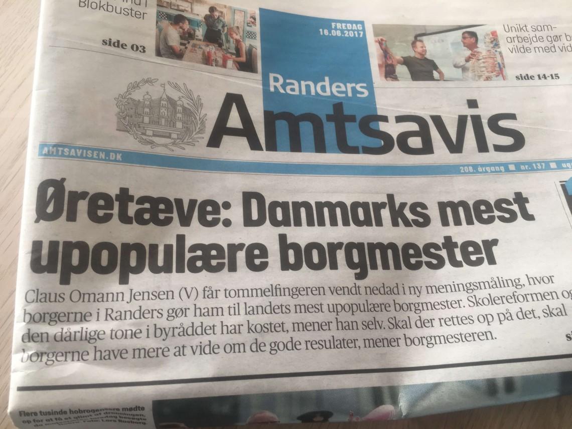 Forsiden på Randers Amtsavis fredag den 16. juni